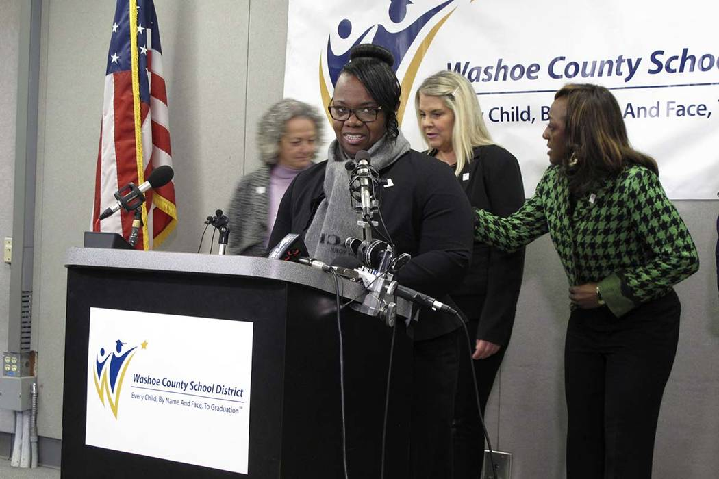 Traci Davis, superintendent of the Washoe County School District, speaks to reporters Thursday, ...