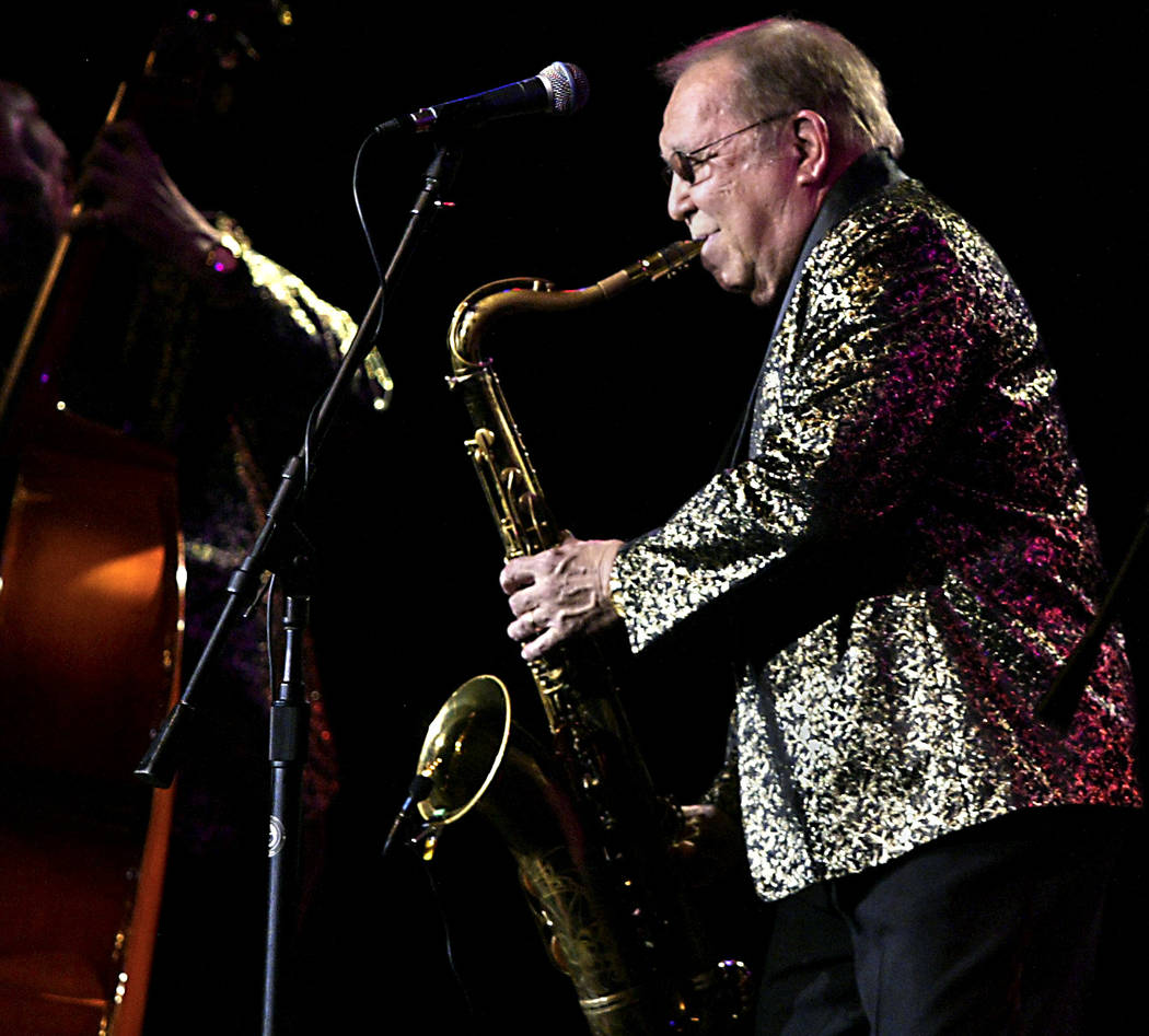 Joe D'Ambrosio plays saxophone with his legendary rock 'n' roll band The Comets at the Cannery, ...