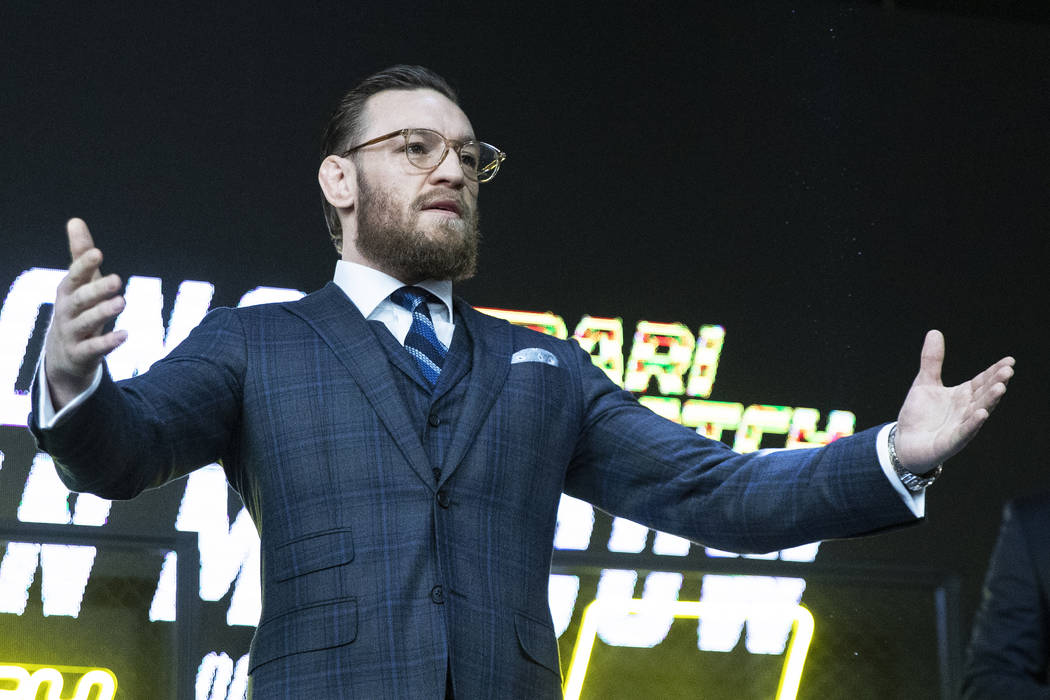 UFC fighter Conor McGregor gestures during a news conference in Moscow, Russia, Thursday, Oct. ...