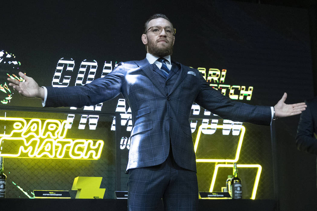 UFC (Ultimate Fighting Championship) fighter Conor McGregor gestures during a news conference i ...