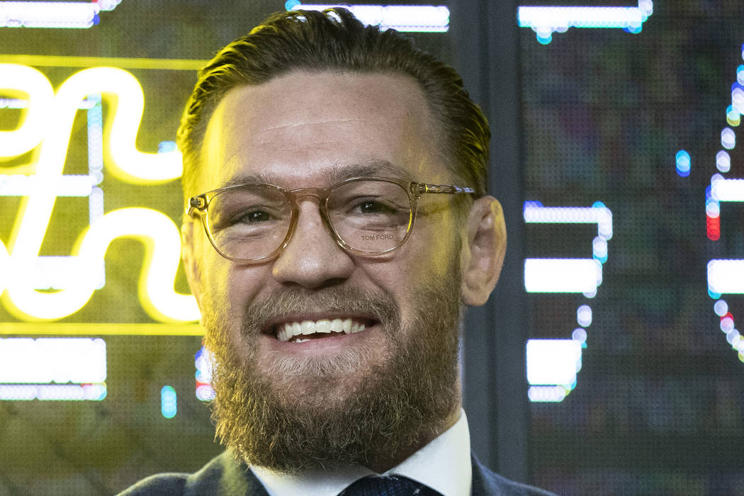 UFC (Ultimate Fighting Championship ) fighter Conor McGregor smiles during a news conference in ...