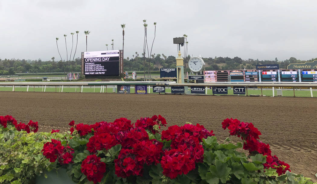 Flowers frame a new infield video board and the finish line ahead of opening day of the fall me ...