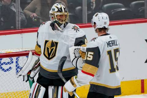 Vegas Golden Knights goaltender Garret Sparks (40) celebrates a win against the Colorado Avalan ...