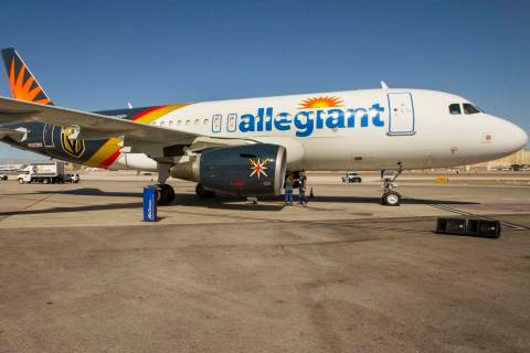 Allegiant unveils a new Golden Knights-themed plane at McCarran on Tuesday, Sept. 10, 2019, in ...