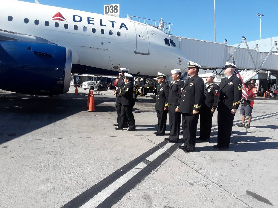 Seaman 2nd Class Moyses Alfonso Martinez's remains arrive in Las Vegas on Oct. 8, 2019. Martine ...