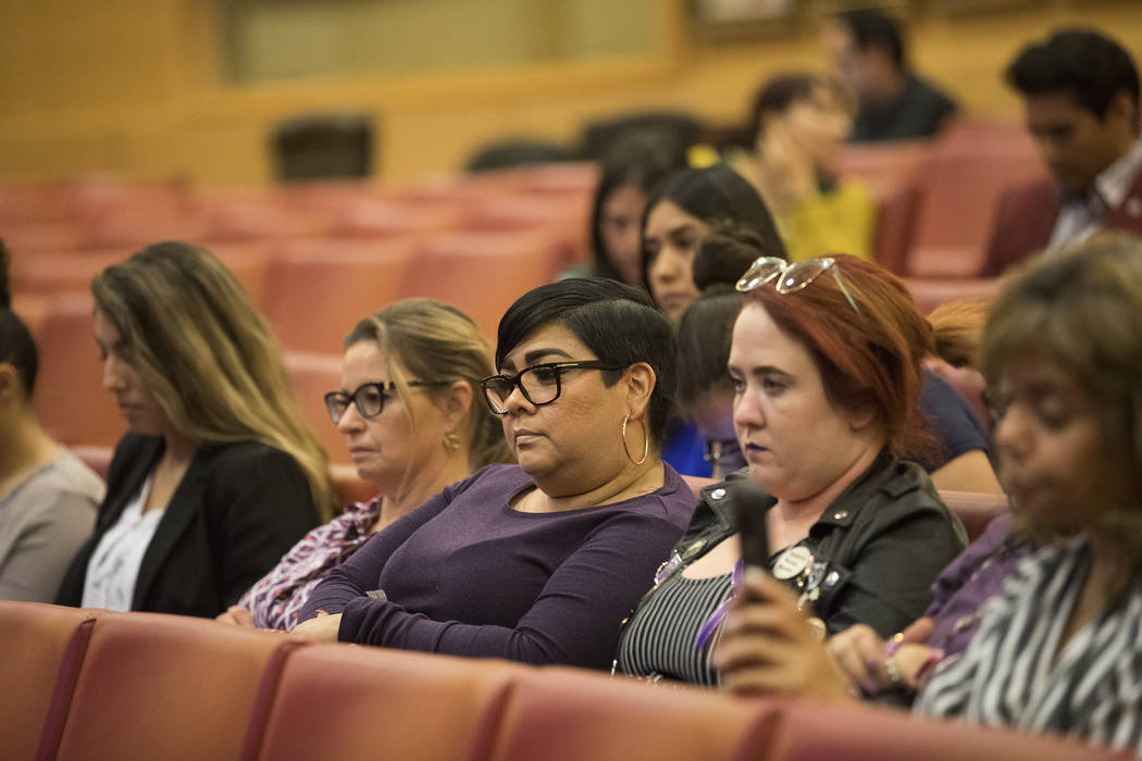The audience at a panel discussion about domestic violence at City Hall in Las Vegas, Thursday, ...