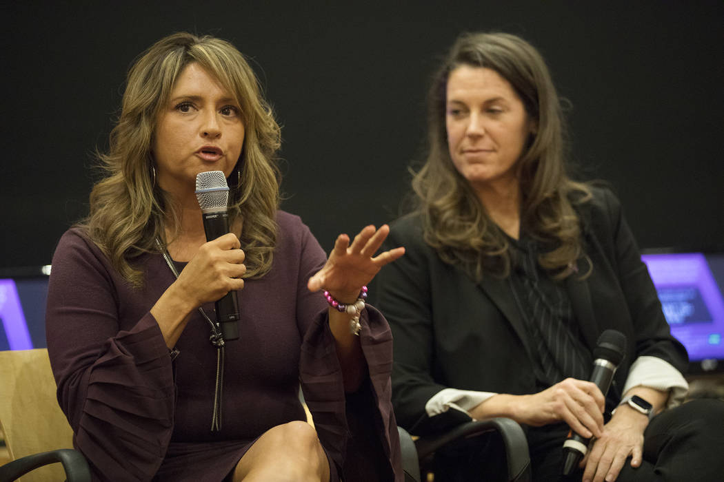 Linda Perez, CEO of The Shade Tree, speaks at a panel discussion about domestic violence at Cit ...