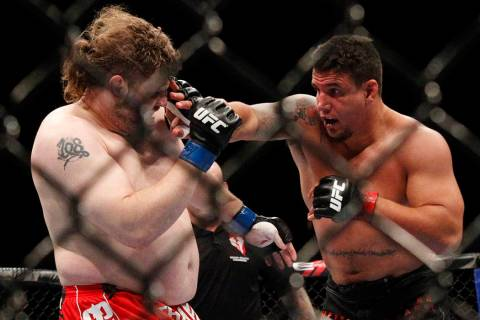 Frank Mir, right, fights Roy Nelson in their heavyweight bout at UFC 130 at the MGM Grand in La ...