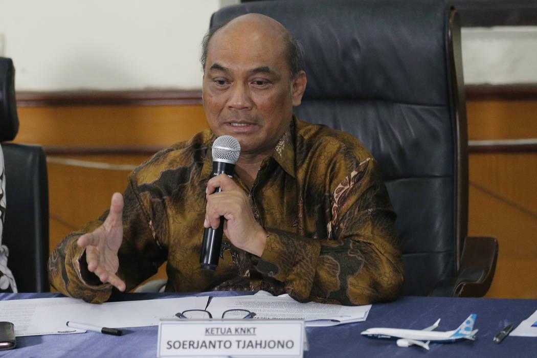 Chairman of the National Transportation Safety Committee Soerjanto Tjahjono talks to media duri ...