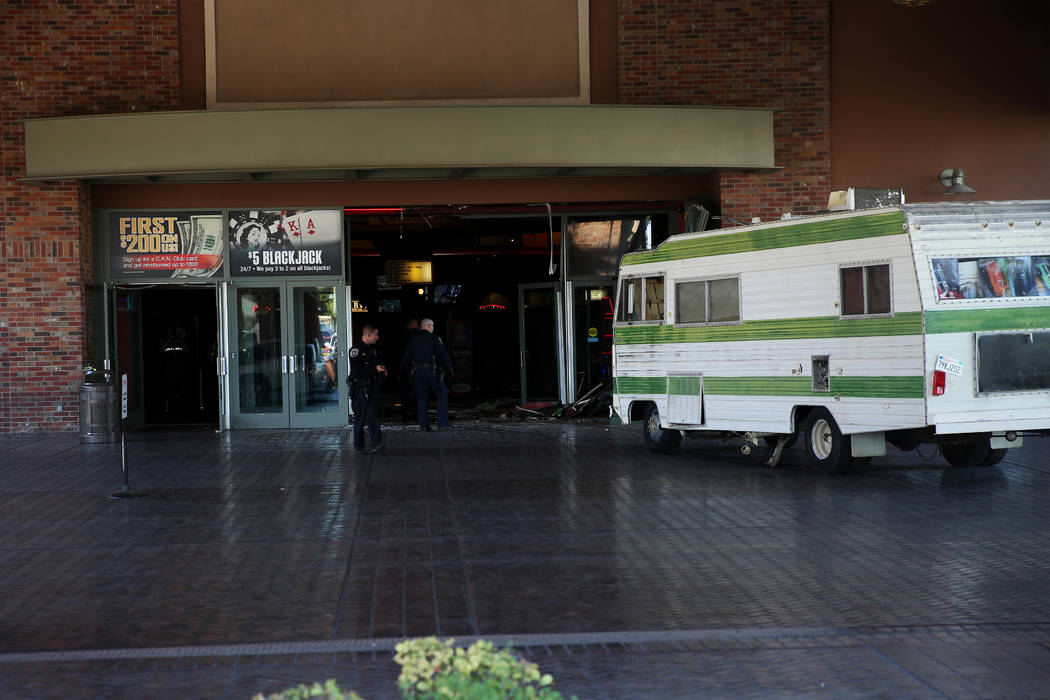 A 50-year-old woman who was kicked out of the Cannery crashed her RV into the entrance of the N ...