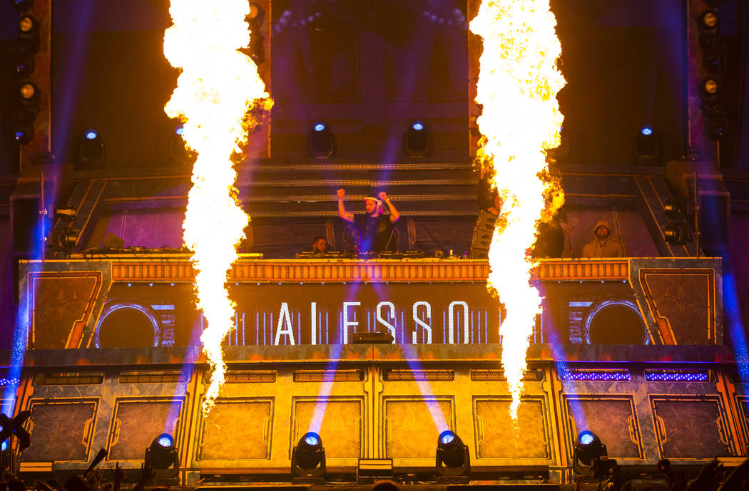 Alesso performs at the Kinetic Field stage during the first day of the Electric Daisy Carnival ...