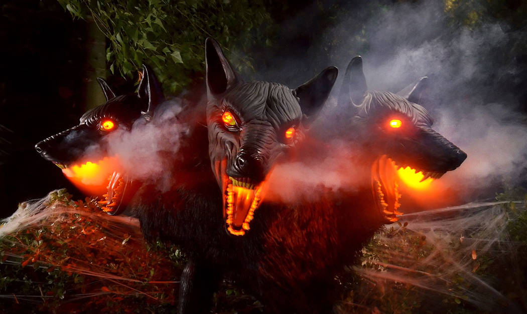 A three headed-dog is an new addition to Carmine Vento's Halloween collection. (Bill Hughes Rea ...