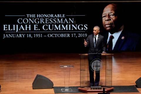 Former President Barack Obama speaks during funeral services for Rep. Elijah Cummings, Friday, ...