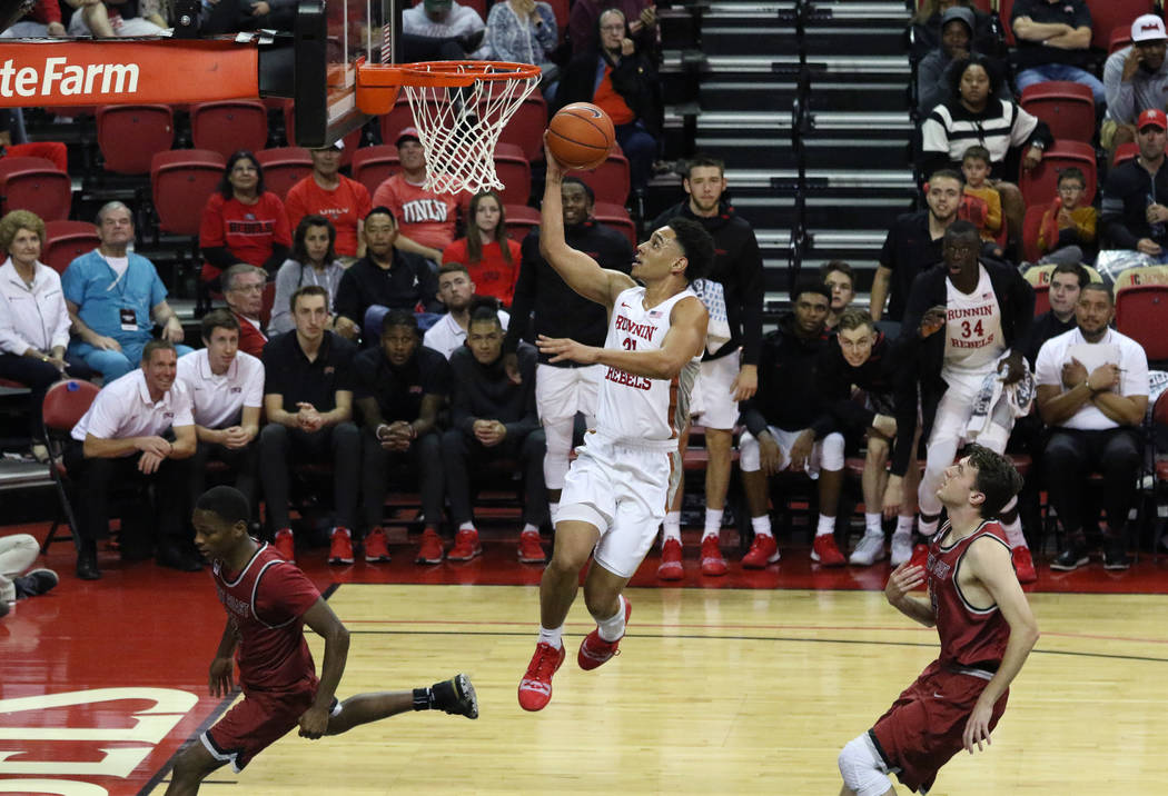 UNLV's guard Marvin Coleman (31) goes for the basket against West Coast Baptist during the seco ...