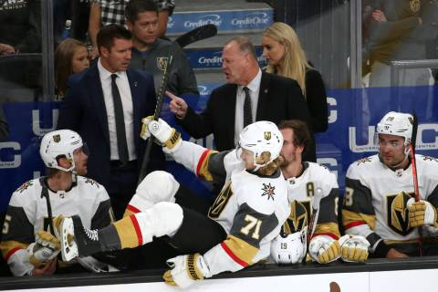 Vegas Golden Knights head coach Gerard Gallant, center, during the second period of an NHL hock ...