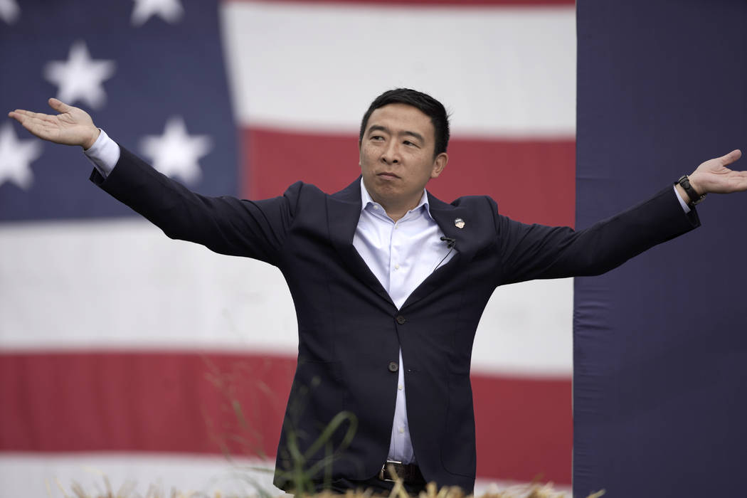 Democratic presidential candidate Andrew Yang speaks at the Polk County Democrats Steak Fry, in ...