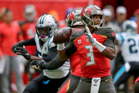 Tampa Bay Buccaneers quarterback Jameis Winston (3) passes against the Carolina Panthers during ...