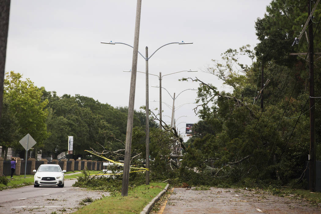 A tree falls on Metairie Road and takes out power lines in New Orleans on Saturday, Oct. 26, 20 ...