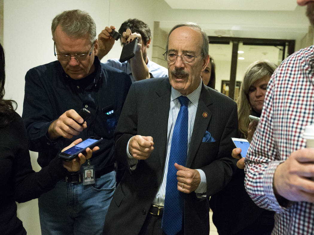 House Foreign Affairs Committee Chairman Rep. Eliot Engel D-N.Y. speaks to reporters outside of ...