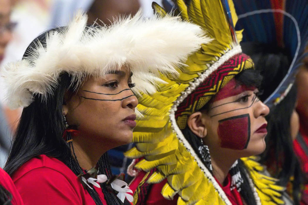 Participants in the Amazon synod attend a Mass celebrated by Pope Francis on the occasion of th ...
