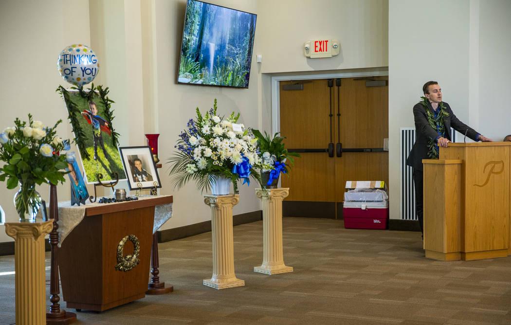 Sean Murray talks about his son, Gavin Murray, 6, during Gavin's funeral service at Palm Mortua ...