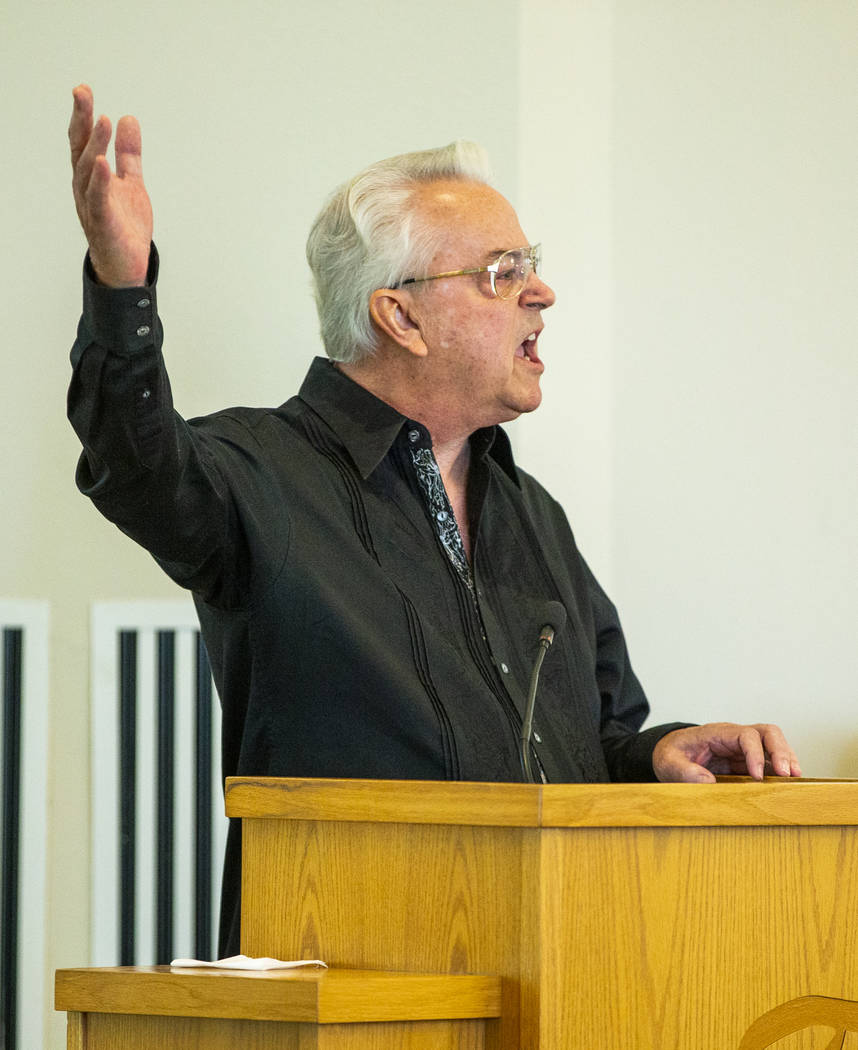 Grandfather Gordon Murray speaks of life and loss during a funeral service for his grandson, Ga ...