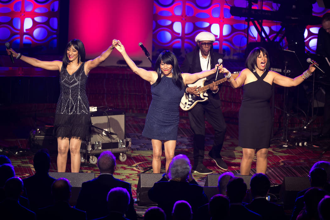 Nile Rodgers performs with Sister Sledge at the 47th Annual Songwriters Hall of Fame Induction ...
