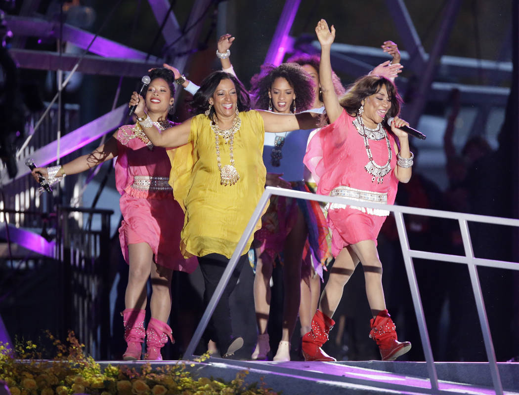 Sister Sledge performs during the Festival of Families, Saturday, Sept. 26, 2015, in Philadelph ...