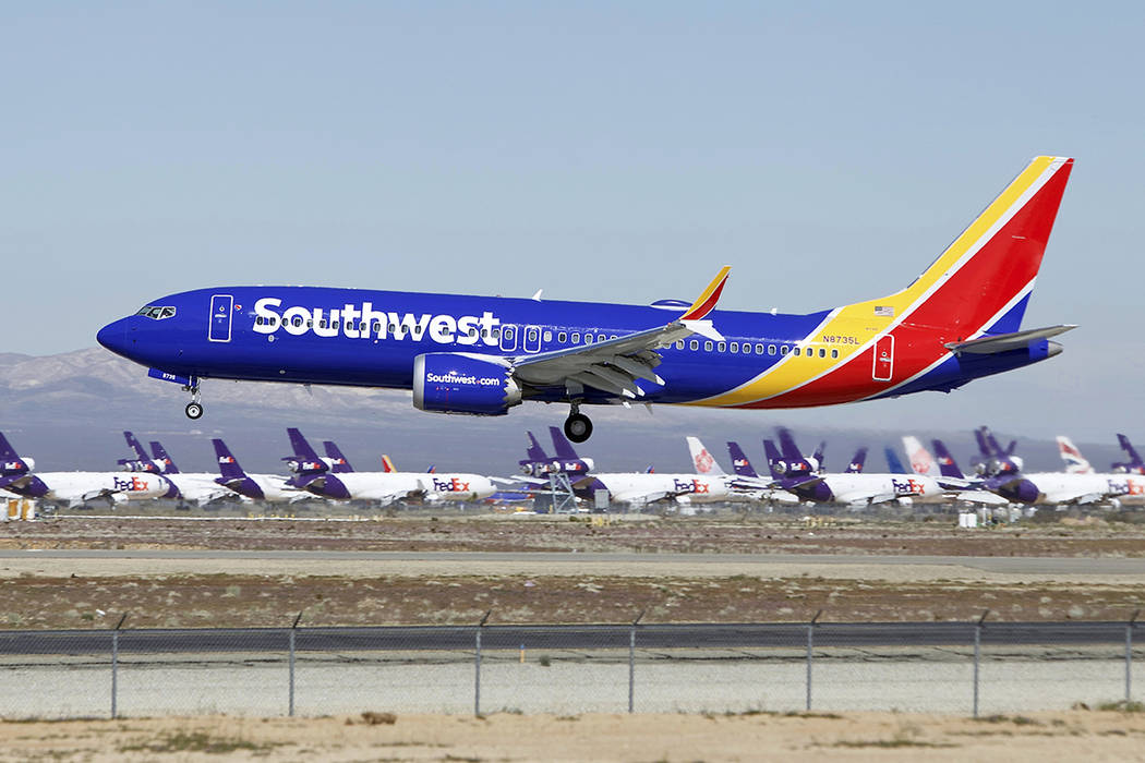 FILE - In this March 23, 2019, file photo, a Southwest Airlines Boeing 737 Max aircraft lands a ...