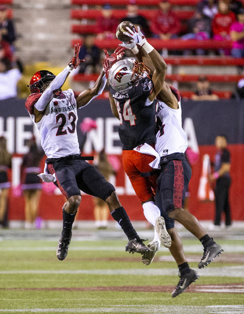 UNLV Rebels wide receiver Steve Jenkins (84) fights to secure a pass between San Diego State Az ...
