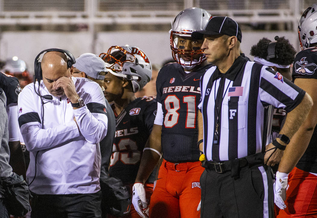 UNLV Rebels head coach Tony Sanchez is dismayed on the sidelines against the San Diego State Az ...