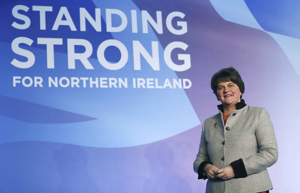 Democratic Unionist Party leader Arlene Foster on stage as she prepares for the the DUP annual ...