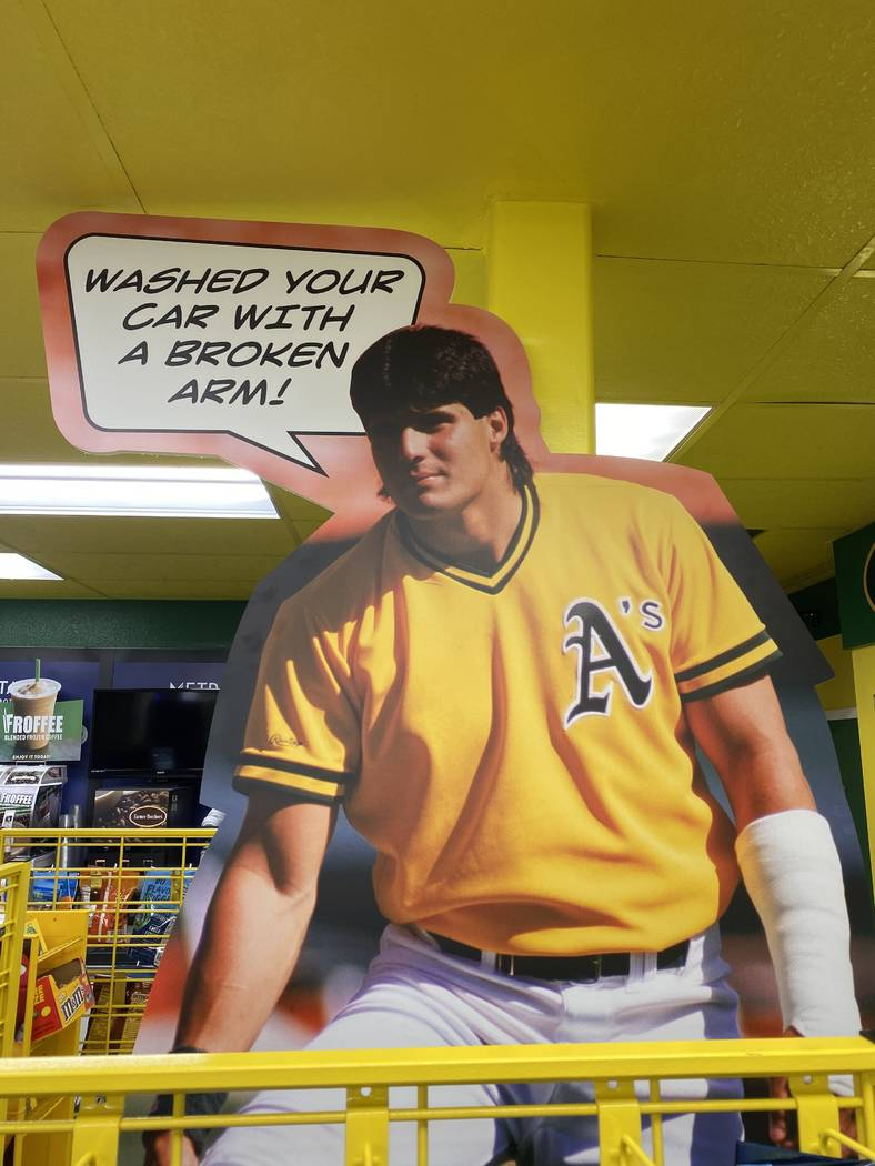 A cutout of Jose Canseco from early in his career with the Oakland Athletics is shown Saturday, ...