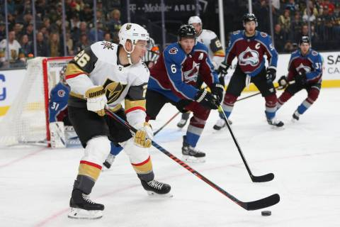 Vegas Golden Knights center Paul Stastny (26) looks for an open pas against Colorado Avalanche ...