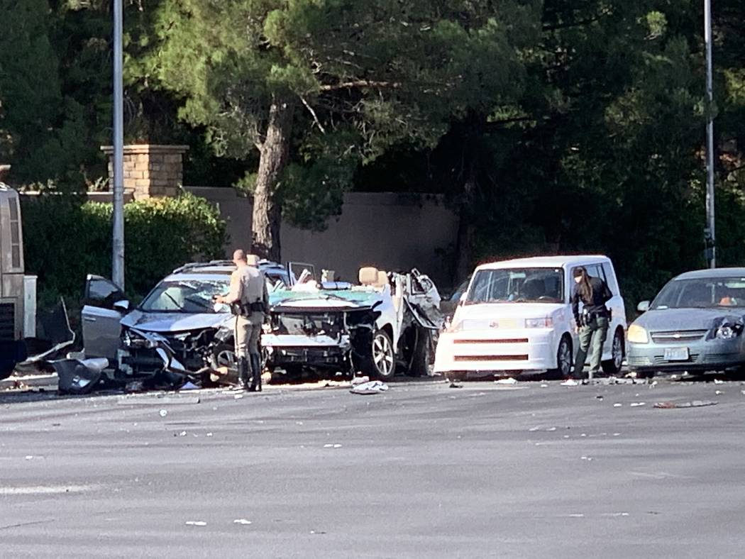 One person is dead after a seven vehicle crash involving a bus near Tropicana Avenue and Rainbo ...