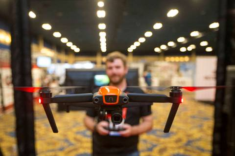 Andrew St. Pierre of Autel Robotics demos the Evo camera drone during the third annual Commerci ...