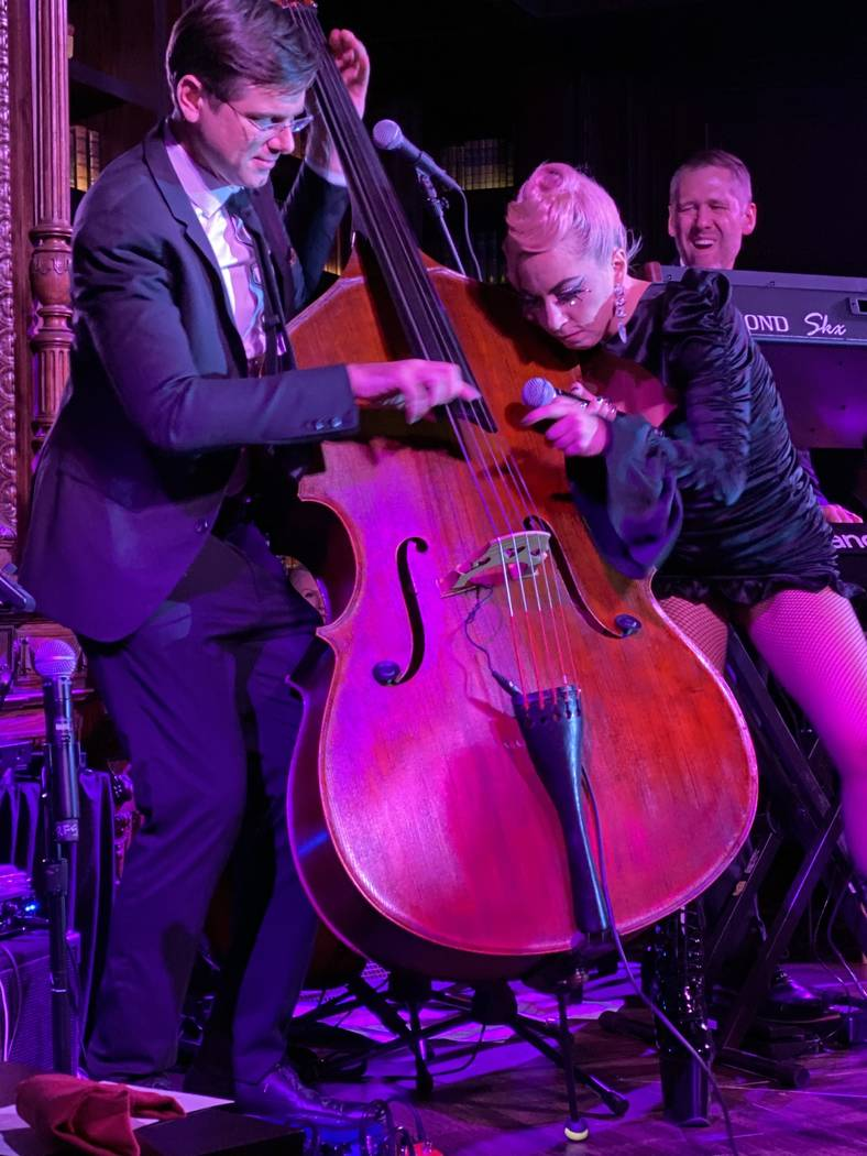 "Lady Gaga adds to Daniel Foose's bass solo at Brian Newman's ""After Dark"" show at NoMad Restaur ..."