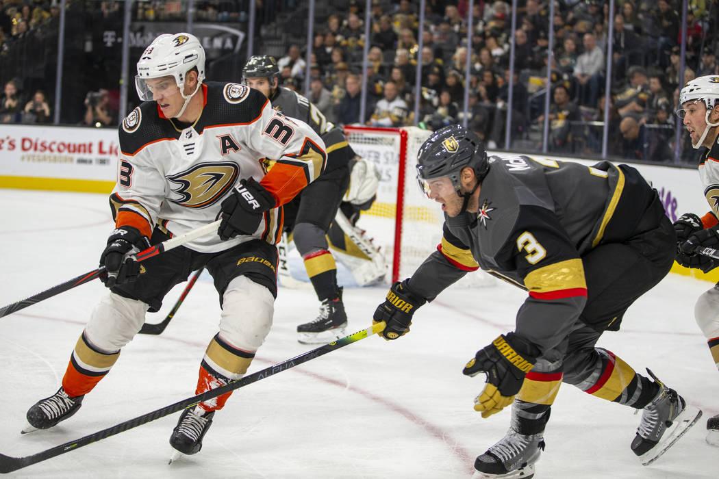 Anaheim Ducks right wing Jakob Silfverberg (33) and Vegas Golden Knights defenseman Brayden McN ...