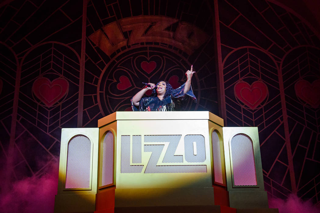 Lizzo is shown performing her sold-out show at the Chelsea at the Cosmopolitan of Las Vegas on ...