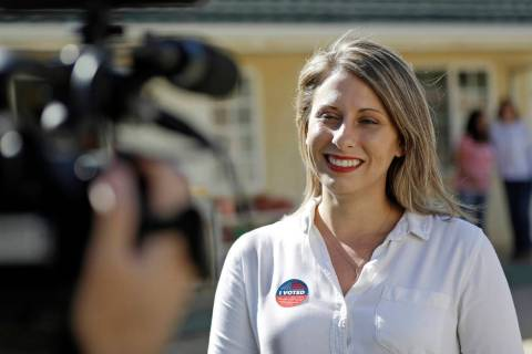 FILE - In this Nov. 6, 2018 file photo, Katie Hill, then a Democratic Party candidate from Cali ...