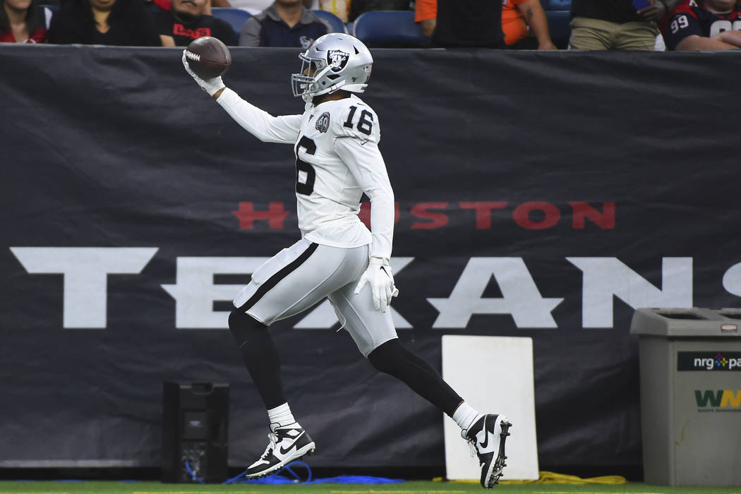Oakland Raiders wide receiver Tyrell Williams (16) scores a touchdown against the Houston Texan ...