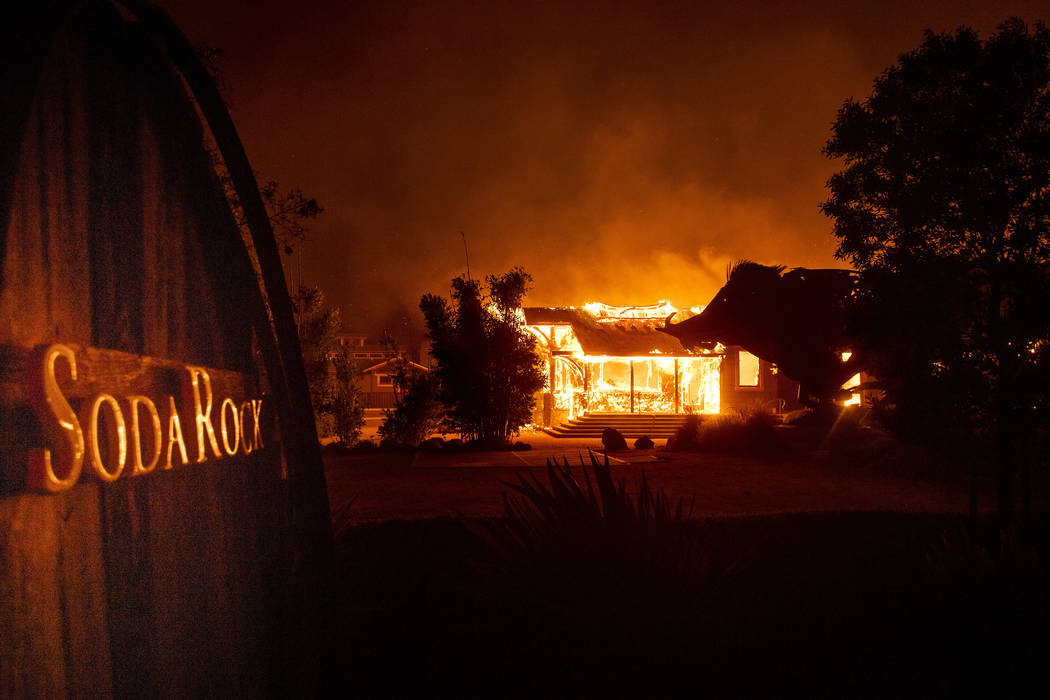 Flames from the Kincade Fire consume Soda Rock Winery on Sunday, Oct 27, 2019, in Healdsburg, C ...
