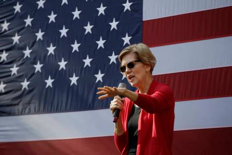 Democratic presidential candidate Sen. Elizabeth Warren, D-Mass., speaks at a campaign event, T ...