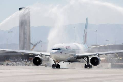 McCarran International Airport welcomes the first Eurowings flight that few direct from Cologne ...