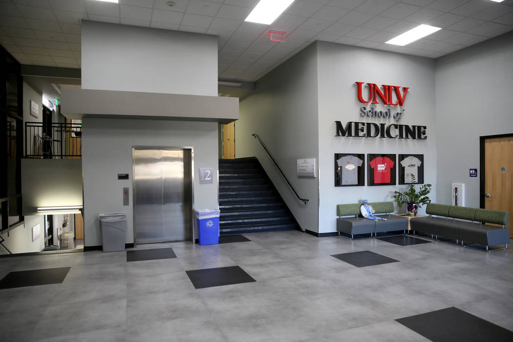 The lobby of the UNLV School of Medicine at the temporary Shadow Lane Biotech Research Center c ...