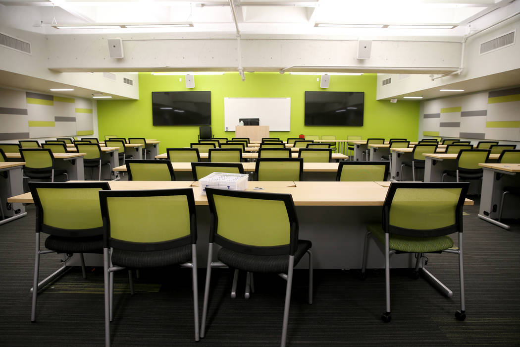 A classroom at the UNLV School of Medicine at the temporary Shadow Lane Biotech Research Center ...