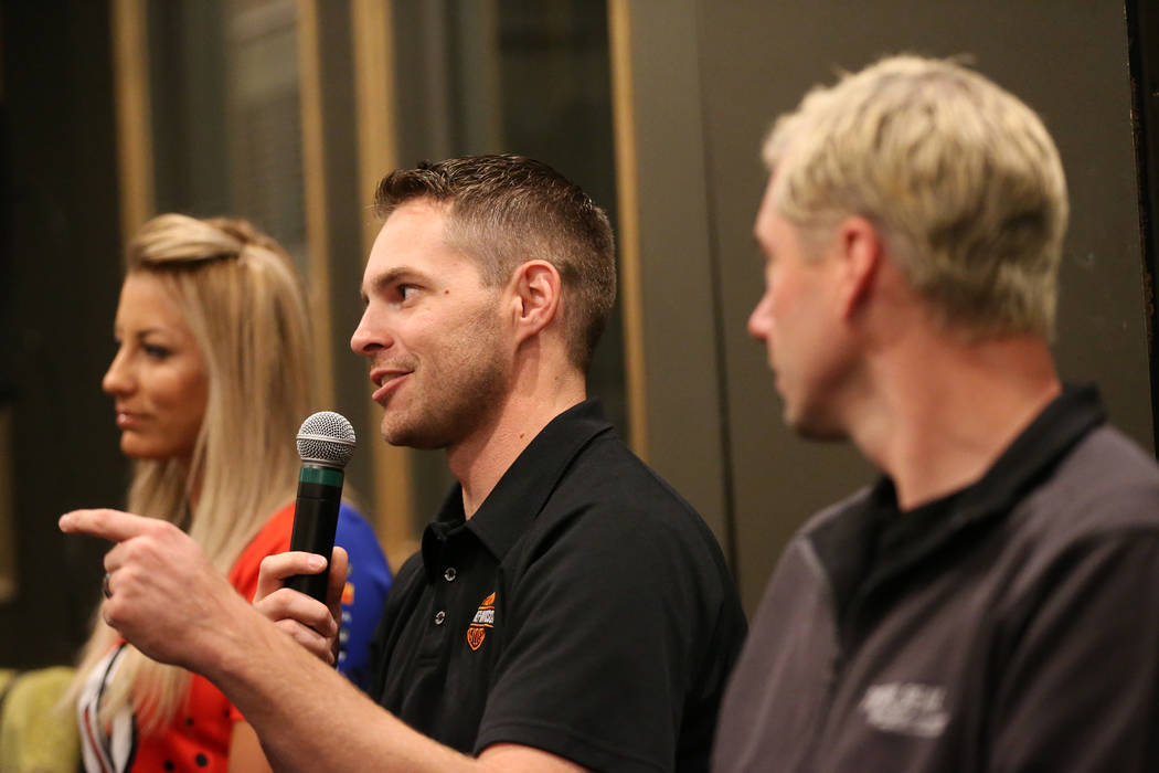 Driver Andrew Hines speaks during a press conference for the Dodge NHRA Nationals event at Del ...