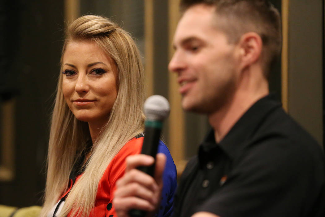 Drivers Leah Pritchett, left, looks on as Andrew Hines speaks during a press conference for the ...