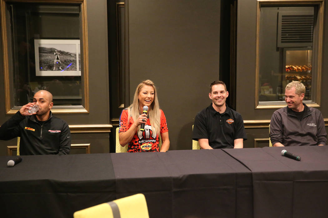 Drivers from left, J.R. Todd, Leah Pritchett, Andrew Hines and Matt Hartford, participate durin ...