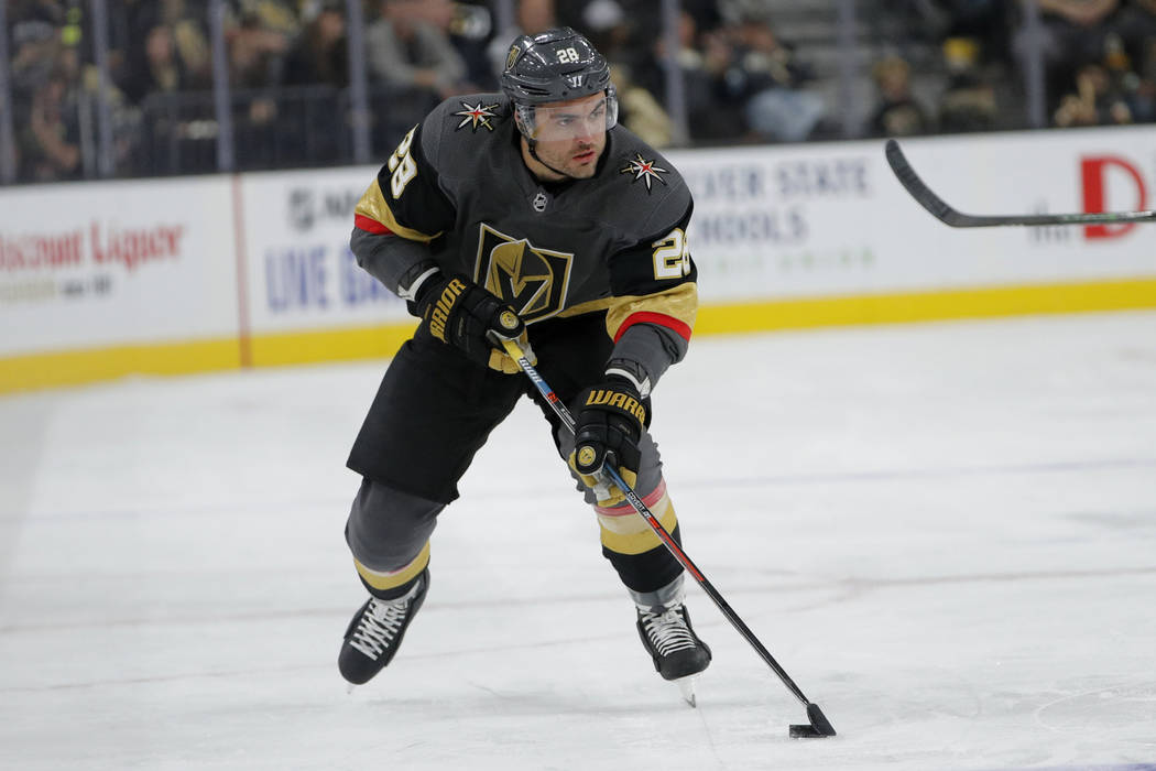 Vegas Golden Knights left wing William Carrier (28) plays against the Anaheim Ducks in an NHL h ...